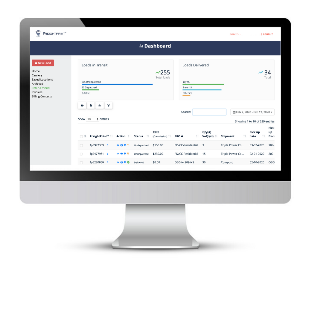 Manage Loads FreightPrint